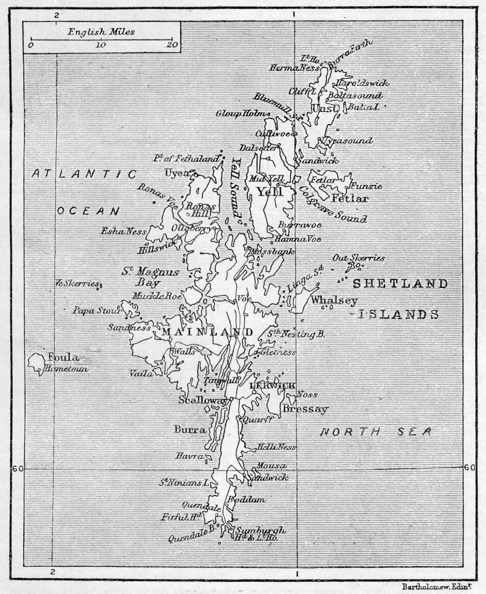 Map of Shetland Islands 1906