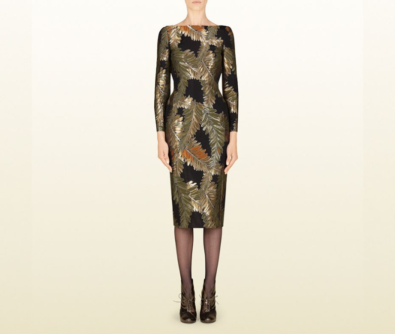 Gucci-Jacquard-Fern-Motif-Backless-Dress