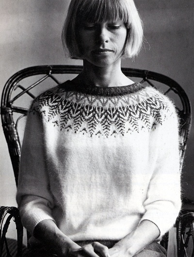Kerstin+Olsson+modeling+her+Swan+design+Bohus+sweater