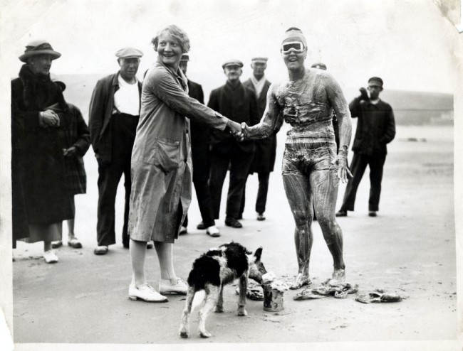 Gertrude Ederle the American swimmer who won three medals in the 1924 Olympic games. On Aug. 6, 1926, she became the first woman to swim the English Channel, which she crossed in 14 hr and 31 min, breaking the previous men's record.