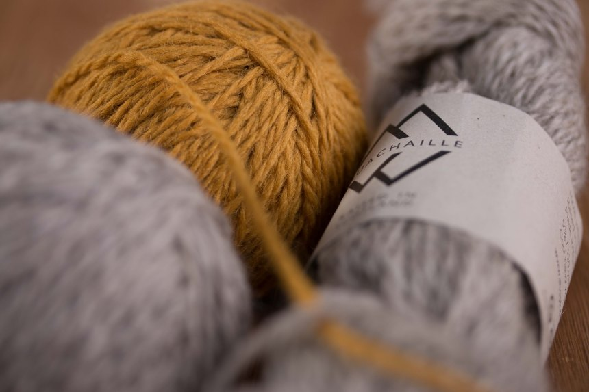Yellow and Grey Buachaille Wool Yarn made in Britain