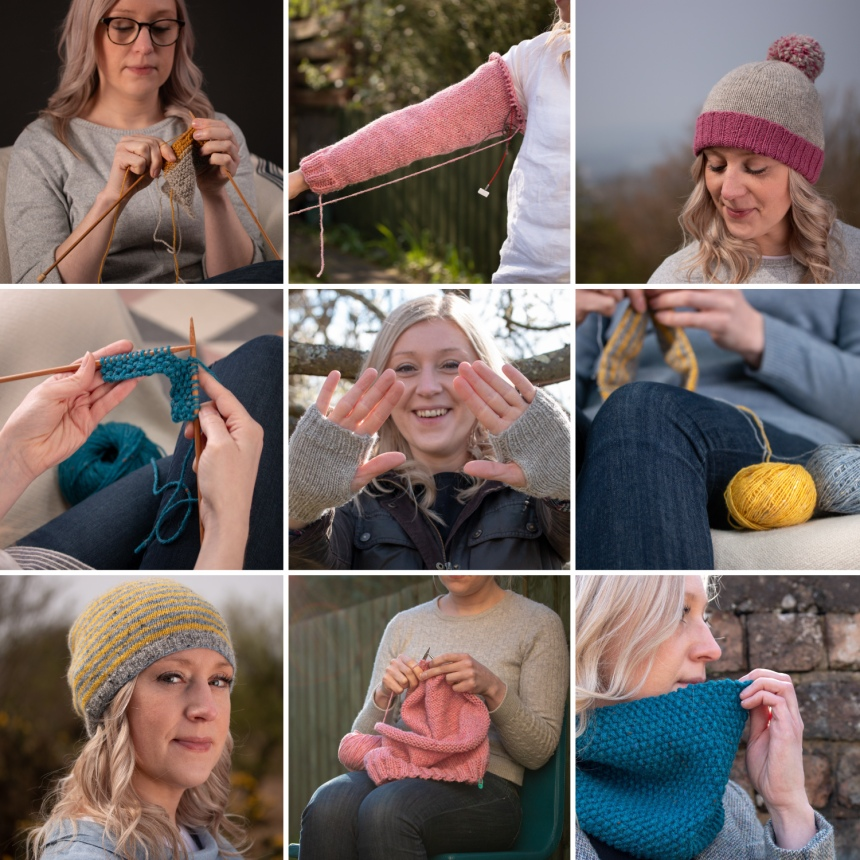 Jane-Learning-to-knit-photograph-compilation